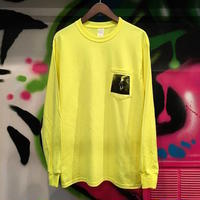 "【 PAPERMIC 】""CTJG"" POCKET L/S TEE ( NEON YELLOW )"