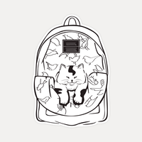 【STICKER-L SIZE】CATS IN THE BAG 01