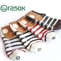rasox ラソックス コットン・ボーダー・ロウ CA141SN01 22cm~24cm