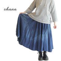 ohana オハナ インディゴチェックフレアスカート FREEサイズ F-16071390