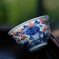手描き釉裏紅茶杯 PC058