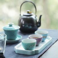 手描き粉彩扒花茶杯 PC010