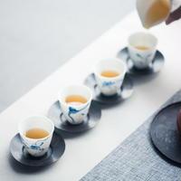 手描き染付茶杯(4枚セット) 蓮 PG040
