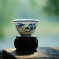 手描き染付茶杯 宝相花 PC086