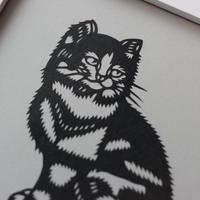 剪紙 額縁付 猫 AL007