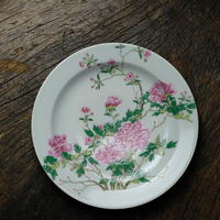 粉彩お皿 牡丹 PC069