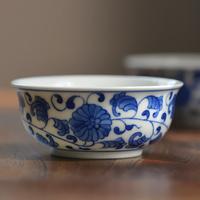 手描き染付茶杯 纏枝蓮紋 PC027
