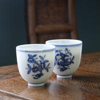 手描き染付茶杯 三多紋 PC109