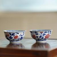 手描き釉裏紅茶杯 纏枝蓮紋 PC094
