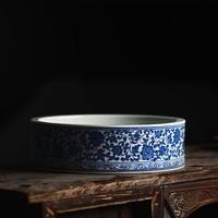 手描き染付皿 纏枝蓮紋 PC002