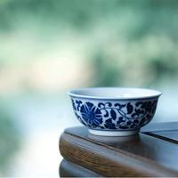 手描き染付茶杯 纏枝蓮紋 PC005-A