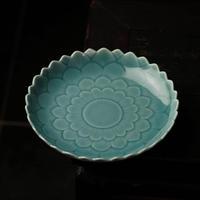 青釉皿 蓮 PC042