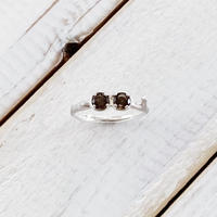 Branch ring 16 smoky quartz x2