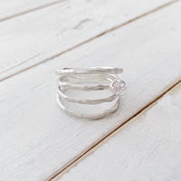 Branch ring 24 white topaz