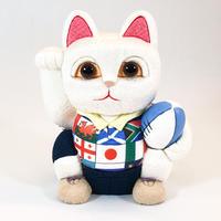 江戸木目込み人形 招き猫 /  ラグビー 白 Lucky Cat Rugby White