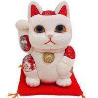 江戸木目込み人形 招き猫 / 白 Lucky Cat White