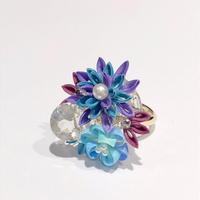 《つまみ細工》天然石のリング ④ / kumakumao
