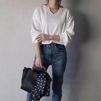 【レターパック対象】ワッフル編みキーネックボリューム袖7分丈トップス