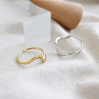 silver925 simple wave ring