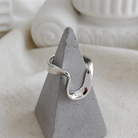silver925 modern wave open ring