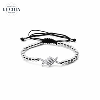 Handmade woven bracelet  type 1 silver