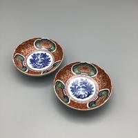 大聖寺伊万里 金襴手牡丹唐草文四寸皿(5枚揃)
