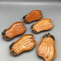 大樋焼 柿型皿(5枚揃)