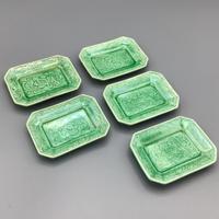珉平焼柘榴紋緑釉角小皿(5枚揃)