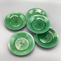 珉平焼緑釉陰刻牡丹紋五寸皿(5枚揃)