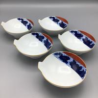 香蘭社 染錦菊紋手付鉢(5客揃)
