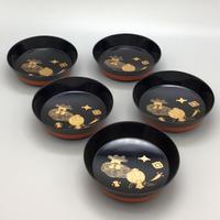 会津塗 宝蒔絵木皿(5客揃)