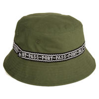 "PASS~PORT【 パスポート】""BARBS"" RIBBON CANVAS BUCKET CAP OLIVE  バケット ハットオリーブ"