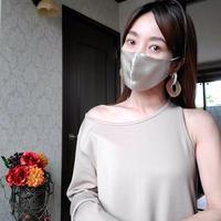 saito.yukariさん着用 DQ CORALシルク100% 冷感シルク 美容保湿マスクSA029シャンパンゴールド