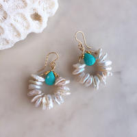 Pearl & turquoise pierced