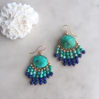 Turquoise&lapis lazuli fringe pierced