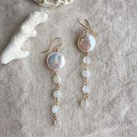 Coin pearl & rainbow moonstone