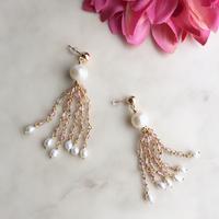 Pearl& pink epidote  pierced