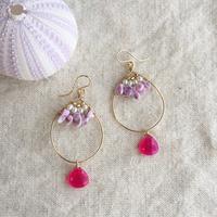 Pink shizuku hoop pierced