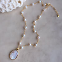 White shell&pearl chain necklace