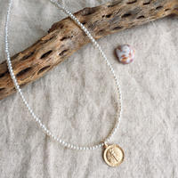 Pearl necklace(14kgf Miraculous Medal)