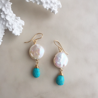 Pearl & kingman turquoise pierced