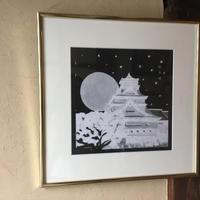 絵画  熊本県風景画 「震災復興祈願熊本城 /Black &White 」