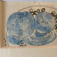 絵画 ART オリジナルORIGINAL 水彩画 ペン画 ミクスト 「ガラスの皿の上のリンゴ」 (原画)