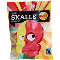 Bubs Godis Skalle スカッレ 骸骨 グミ ラズベリー レモン味 90g×2袋セット グルテンフリー スゥエーデンのお菓子です