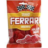 Toms FERRARI トムズ フェラーリ 車型 ラズベリー味 グミ デンマークのお菓子です 12袋×130g デンマークのお菓子です