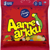 Fazer Aarrearkku ファッツェル アーレアック 宝箱 フルーツ&サルミアッキ グミ 4袋×280g フィンランドのお菓子です