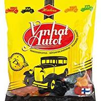 Halva ハルヴァ Vanhat Autot オールドカーの形のフルーツグミ&サルミアッキ 170g 1袋 フィンランドのお菓子です