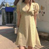 ロマンチック パフスリーブ シフォンワンピ 6526