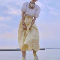 スクエア カラー 半袖 シャツ + ハイウエスト ロング チェック スカート 6562