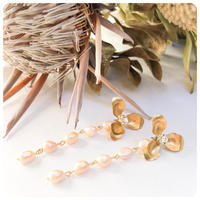 botanical long pearl  pierce&earring